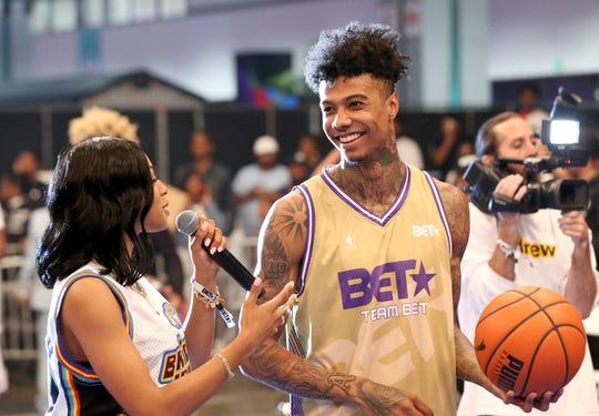 Jamila Mustafa interviews Blueface during the BETX celebrity basketball game during the BET Experience at Los Angeles Convention Center on June 22, 2019 in Los Angeles, California.