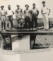 Civilian Conversation Corps members work on the Mispillion Marsh Gate in 1934.