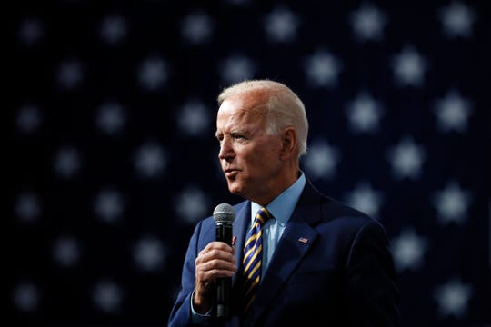 Democratic presidential candidate former Vice President Joe Biden speaks at the Presidential Gun Sense Forum, Saturday, Aug. 10, 2019, in Des Moines, Iowa.