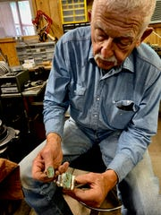 Area artist Dan Shores oversees the Texas Ranch Roundup trade show, and shows in it and is seen here with turquoise jewelry he's crafted.  Shores also creates spurs and bits as well as does photography for the annual event. The Trade Show will run at the Ray Clymer Exhibit Hall from 9 a.m. to 7 p.m. today and Saturday