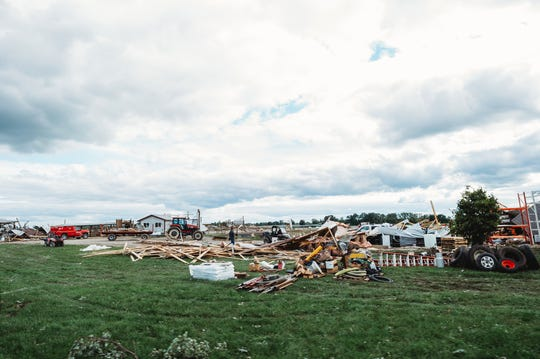 In minutes, a tornado leveled the barns and machine shop on Pebble Knolls dairy farm near Alto on August 28, 2018.