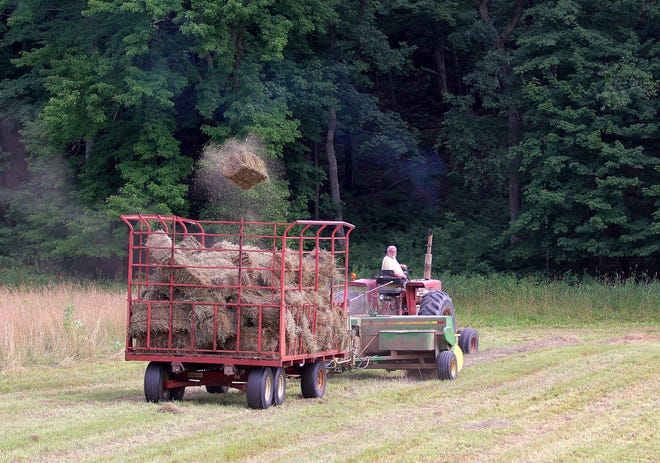 A bale of hay soars through the air as a farmer makes hay on his farm in Eau Claire County.