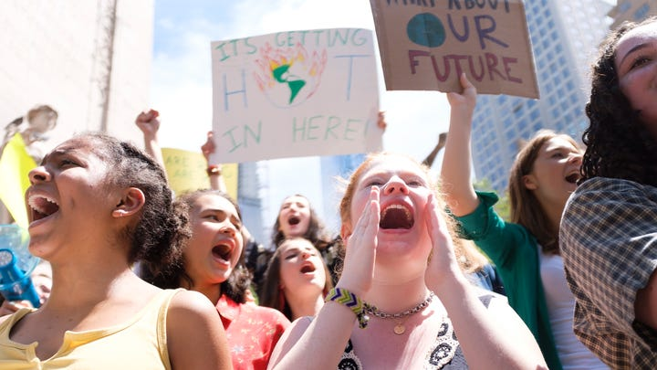 Young people gather in New York for a student-led protest against a lack of action on climate issues and to raise awareness about climate change on May 24, 2019. It was one of many school climate strikes that took place around the world.