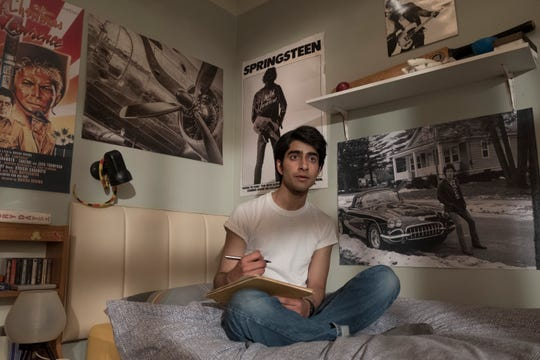 "Like Sarfraz Manzoor growing up, Javed (Viveik Kalra) has a shrine to The Boss in his bedroom and tries to emulate his style in ""Blinded by the Light."""