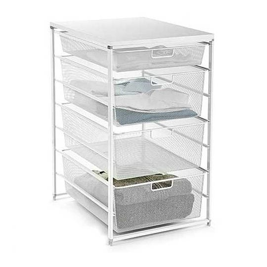 Elfa Mesh Closet Drawers at The Container store prevent small items from falling through to the bottom and offers smooth gliding doors. The drawers sell for $150-$158.
