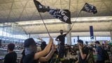 Hong Kong's airport has cancelled all remaining departing flights for the second day after protesters took over the terminals.
