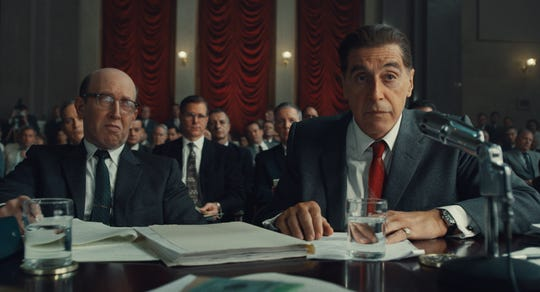 "Al Pacino (right) stars as Jimmy Hoffa in Martin Scorsese's Netflix gangster drama ""The Irishman."""