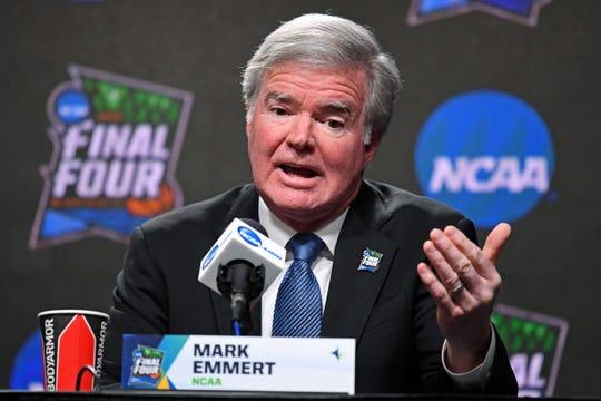 Apr 4, 2019; Minneapolis, MN, USA; NCAA president Mark Emmert speaks during a press conference at U.S. Bank Stadium. Mandatory Credit: Robert Deutsch-USA TODAY Sports