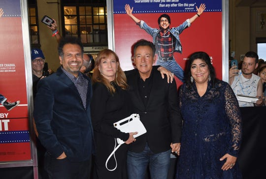 "Sarfraz Manzoor (from left) Patti Scialfa, Bruce Springsteen and Gurinder Chadha at the ""Blinded by the Light"" premiere in Asbury Park, N.J., earlier this month."