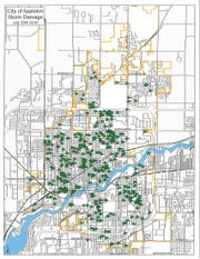 Appleton has mapped the loss of trees to show the breadth of damage from the July 20 thunderstorms.