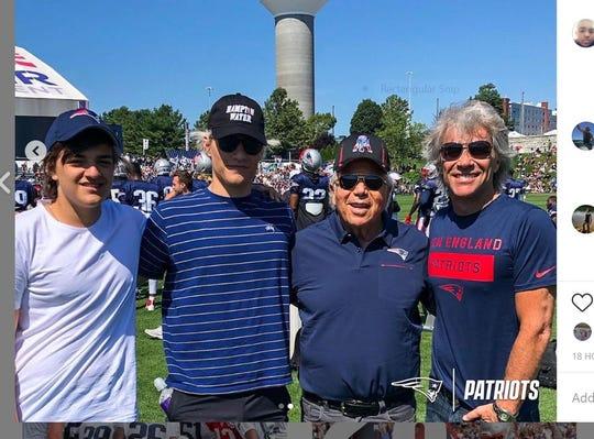 Romeo Bongiovi, Jake Bongiovi, Robert Kraft and Jon Bon Jovi on Aug. 12 at Gillette Stadium in Foxborough, Mass.