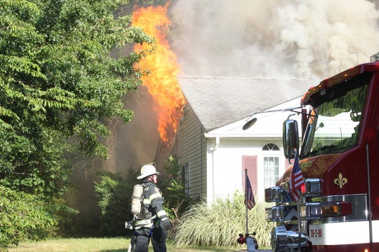 Crews battled a fire at a home on Cannonball Drive in Tinton Falls Aug. 12