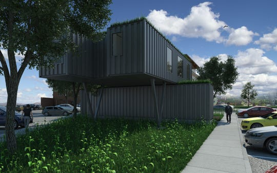 A container hive outside the  Anderson building will feature retailers and other uses.