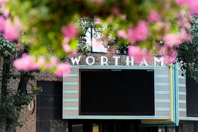The marquee at the Diana Wortham Theatre August 13, 2019.