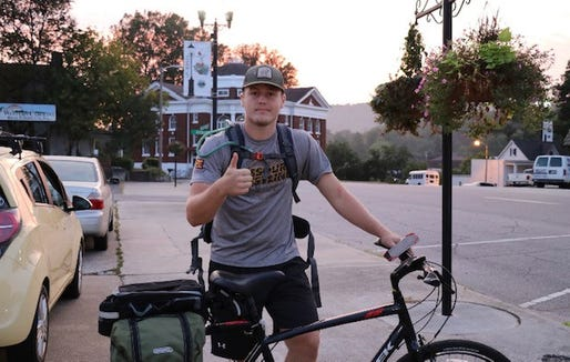 Former Murphy athlete Cory Farmer completed his bike journey from Murphy to Manteo on Aug. 22.