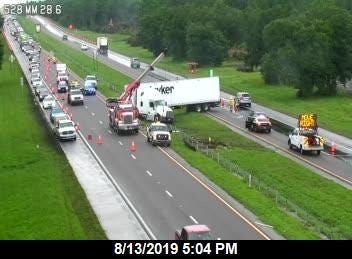 The Beachline was completely shut down as a result of a tractor-trailer jackknifed near the median, according to crash reports.