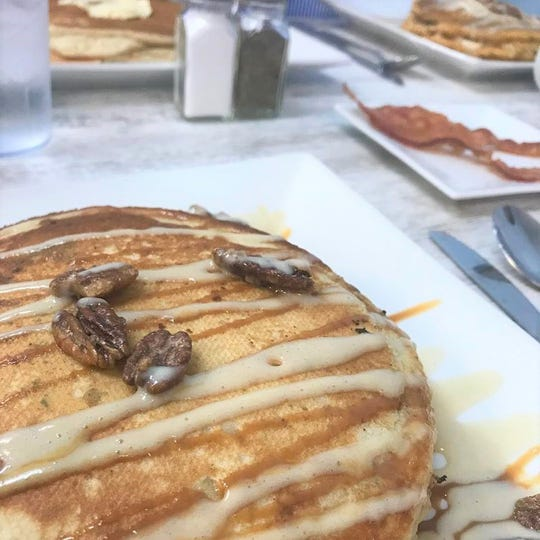 Friendly service and delicious treats like these caramelized nut pancakes are hallmarks of Merritt Island Pancake House.