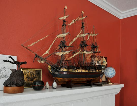A ship model at the historic Indialantic home of Bob and Jenifer Marx honors the Saint Geran, built in Lorient in 1737 and part of the naval fleet of the French East India Company.
