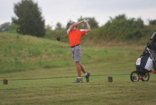 Galion's Spencer Keller tees off on the 9th hole at NorthStar Golf Club.