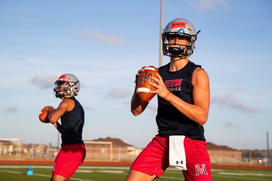 Veterans Memorial quarterback Carter Senterfitt during the first day of practice on Monday, Aug. 12, 2109.