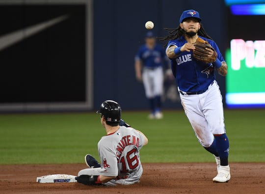 May 23, 2019; Toronto, Ontario, CAN;  Toronto Blue Jays shortstop Freddy Galvis (16) throws to first base for a double play after forcing out Boston Red Sox center fielder Andrew Benintendi (16) in the second inning at Rogers Centre. Mandatory Credit: Dan Hamilton-USA TODAY Sports