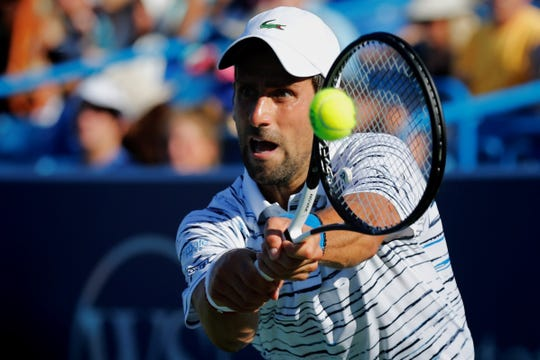Defending Western & Southern Open champion Novak Djokovic squared off against American Sam Querrey on Center Court at the Lindner Family Tennis Center on Tuesday, August 13, 2019.