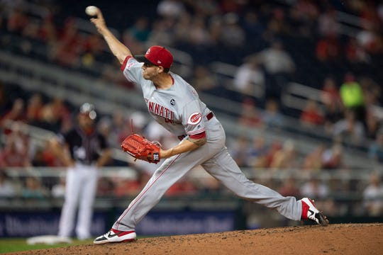 Aug 12, 2019; Washington, DC, USA; Cincinnati Reds pitcher Kevin Gausman (46) delivers a pitch in the fifth inning against the Washington Nationals at Nationals Park. Mandatory Credit: Tommy Gilligan-USA TODAY Sports