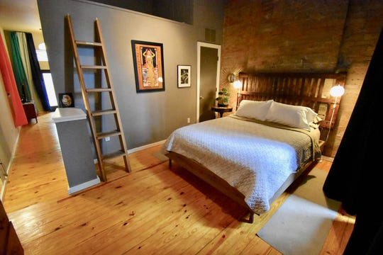 The bedroom inside an Airbnb in Over-the-Rhine that is the most popular Airbnb in Cincinnati