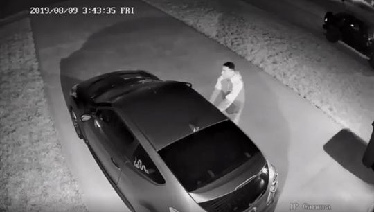 A car theft suspect was caught on surveillance video on Aug. 9, 2019.