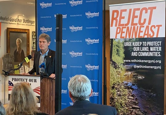 Congressman Tom Malinowski speaks at a Tuesday morning press conference of elected officials and environmentalists calling on the state DEP to reject PennEast's permits to build a natural gas pipeline.