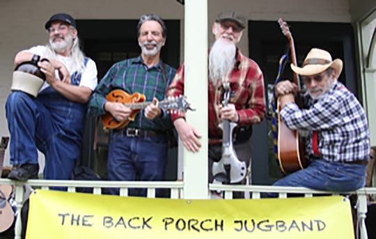 Hunterdon-based Back Porch Jugband is playing a fusion of old-time Americana and rock each day at the Hunterdon 4-H Fair, plus a slew of other gigs. Pictured from left to right are Mark Toman of Flemington,  John LaSala of Doylestown, Pa., Gene Taylor, also of Doylestown, and Gary P. Cohen of Lambertville.