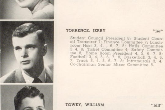 Jerry Torrence, who left a scholarship fund of over $1 million to his alma mater, in a 1953 North High yearbook.