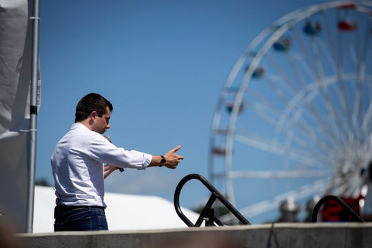 South Bend Indiana Mayor and 2020 Democratic presidential candidate Pete Buttigieg speaks on the Des Moines Register Soapbox at the Iowa State Fair on Tuesday, Aug. 13, 2019 in Des Moines.