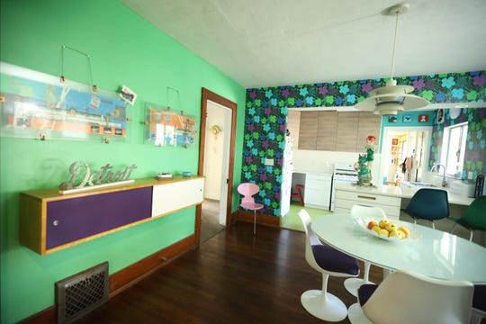 The interior of the Davids' Pop Art House, which showcases retro style and is part of the 2019 Detroit Weird Homes Tour.