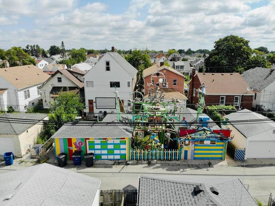 An aerial view of Hamtramck Disneyland, a Hamtramck folk art installation that's featured in the 2019 Detroit Weird Homes Tour.