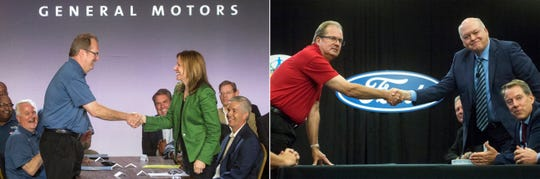 Left photo: UAW President Gary Jones and General Motors Co. Chairman and CEO Mary Barra open 2019 contract talks for a new national agreement July 16, 2019. Right photo: UAW President Gary Jones shakes hands with Ford President and CEO Jim Hackett beside Bill Ford, executive chariman of Ford Motor Co. during the Ford UAW contract ceremonial handshake on July 14th, 2019.