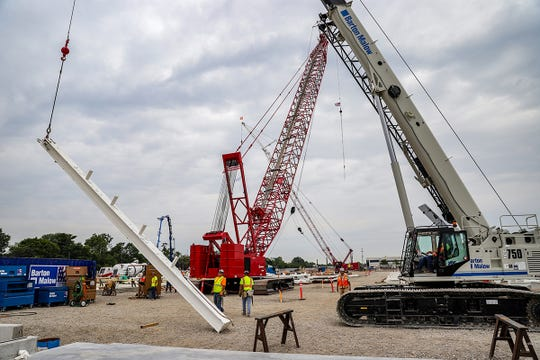 Fiat Chrysler Automobiles places the first beam for the new paint shop being built, updating the Jefferson North Assembly Plant and converting the Mack Engine factory into an assembly plant on the Eastside of Detroit, photographed on Tuesday, Aug. 13, 2019.