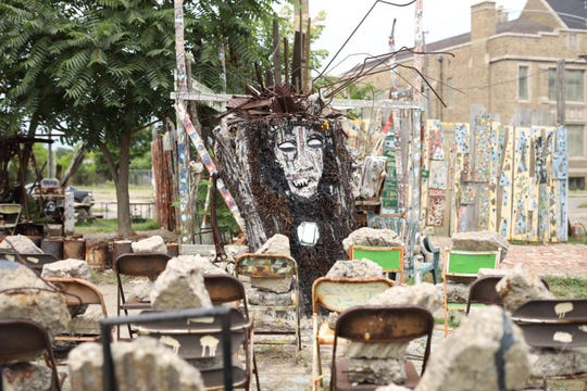 An outdoor exhibit at the MBAD African Bead Museum, one of the stops on the 2019 Detroit Weird Homes Tour.