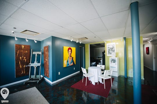 An artists' space in the Detroit Artists' Test Lab, a home and art gallery featured in the 2019 Detroit Weird Homes Tour.
