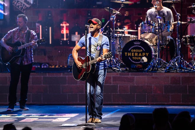 Darius Rucker of Hootie & the Blowfish performs during the Group Therapy Tour at Riverbend Music Center on Saturday, July 20, 2019, in Cincinnati, Ohio. (Photo by Amy Harris/Invision/AP)