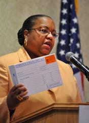 "Wayne County Prosecutor Kim L. Worthy holds a rape kit while announcing the ""Enough Said"" campaign to raise funds to process untested rape kits on January 6, 2015. The kits were discovered abandoned in 2009. Testing was finally completed this year."