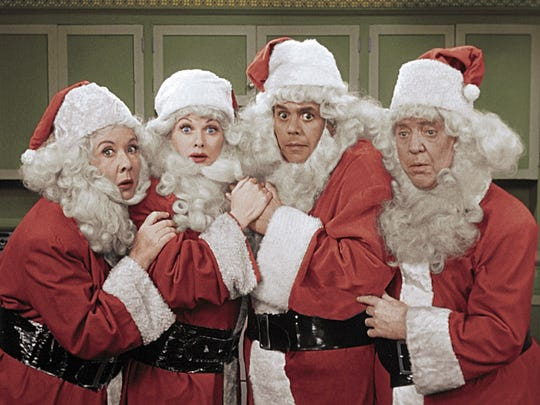 "Vivian Vance, from left, Lucille Ball, Desi Arnaz and William Frawley from the ""I Love Lucy Christmas Special."" CBS created what would become Viacom in 1952 as a vehicle to sell into syndication such popular shows as ""I Love Lucy."" Regulatory rules forced CBS to divest the unit in 1971."
