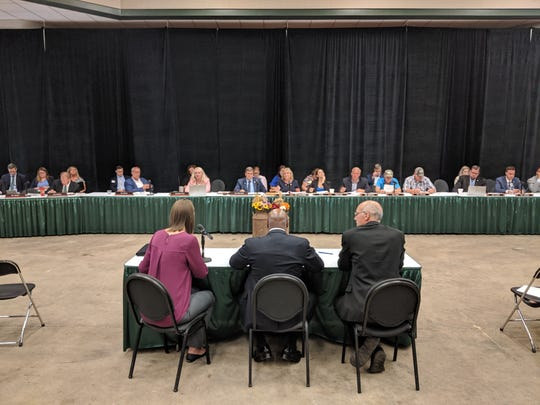 United States Department of Agriculture Officials testify before a joint state House and Senate committee hearing at Michigan State University on Aug. 13, 2019.