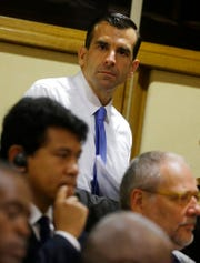 In this July 21, 2015 file photo San Jose Mayor Sam Liccardo attends a conference at the Vatican. Liccardo, on Monday, Aug. 12, 2019, has proposed gun owners in the nation's 10th largest city to carry liability insurance to cover taxpayer costs associated with firearm violence. If approved, Liccardo's strict new measure would be the first of its kind in the nation to curb gun violence.