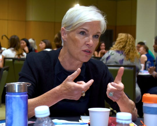 """During a table discussion, Supermajority co-founder Cecile Richards talks with women attending a """"Superlocal x Detroit"""" event at Wayne State on Aug. 10. Supermajority is a new women's political action nonprofit designed to educate and empower. Richards is a former Planned Parenthood president."""