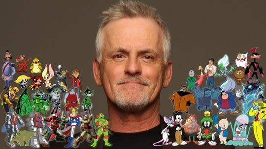 Detroit native Rob Paulsen is surrounded by the numerous cartoon characters he's voiced in a career spanning more than 30 years. He'll appear at the Michigan Comic Con in Cobo Center this weekend. Photo courtesy of De Waal & Associates.
