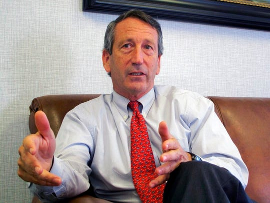 In this Dec. 18, 2013, file photo, U.S. Rep. Mark Sanford, R-S.C., sits for an interview in Mount Pleasant, S.C. Sanford continues to mull the possibility of mounting an uphill challenge to Donald Trump for the Republican presidential nomination.