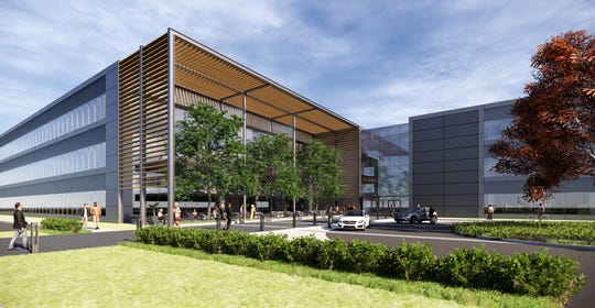 A rendering of the new three-story office building in Farmington Hills that will be the new headquarters of Mercedes-Benz Financial Services USA.