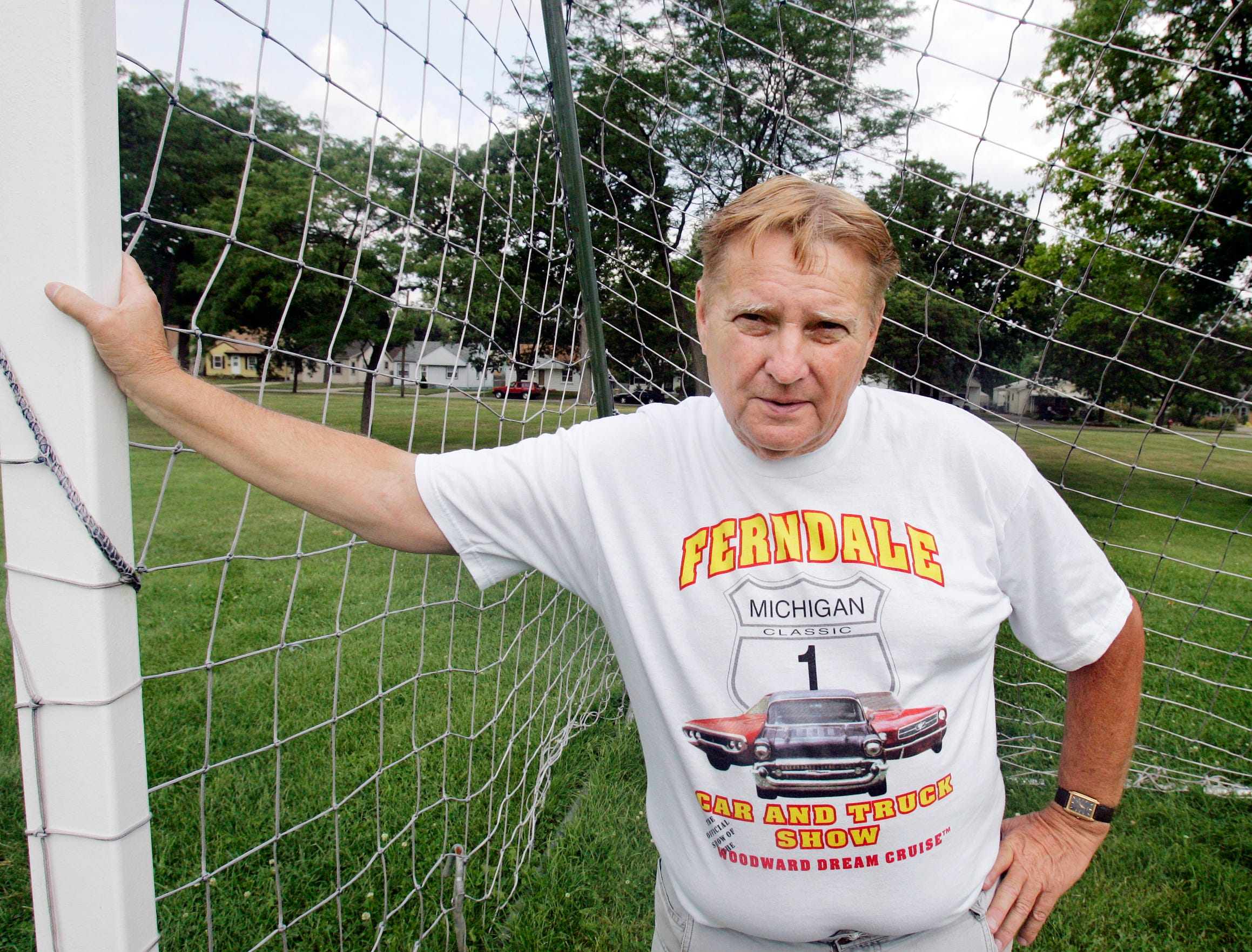 In a 2006 photo, Dream Cruise originator Nelson House stands in the middle of Kids Dream Field in Ferndale. House, a man of many ideas,  was looking for a way to raise funds to build the soccer field on Woodward Heights.