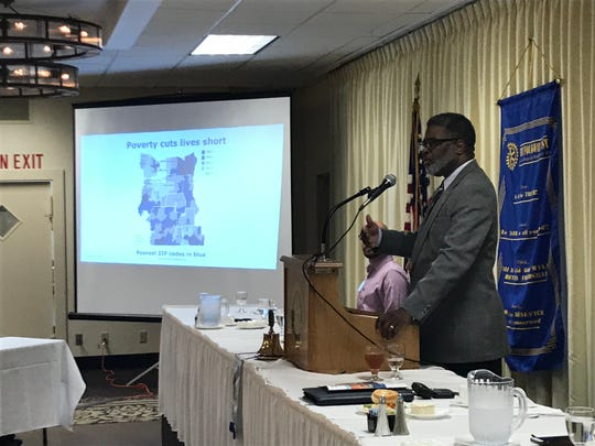 Wade Norwood, chief executive officer of Common Ground Health, speaks Tuesday, Aug. 13, 2019, at the Holiday Inn in Elmira.